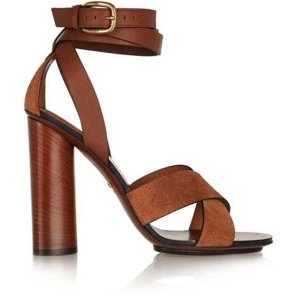 Ankle strap suede Gucci Sandal